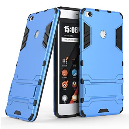 Case for Xiaomi Mi Max 2 (6.44 inch) 2 in 1 Shockproof with Kickstand Feature Hybrid Dual Layer Armor Defender Protective Cover (Blue)