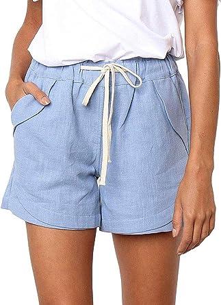 Pantalones Cortos Sueltos, Suaves y Transpirables, de Lino y algodón, para Mujer Pantalones Cortos de Playa: Amazon.es: Ropa y accesorios