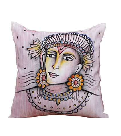 Buy Rangrage Ajanta Face White Cotton Hand Painted Cushion Stunning Hand Painted Pillow Covers