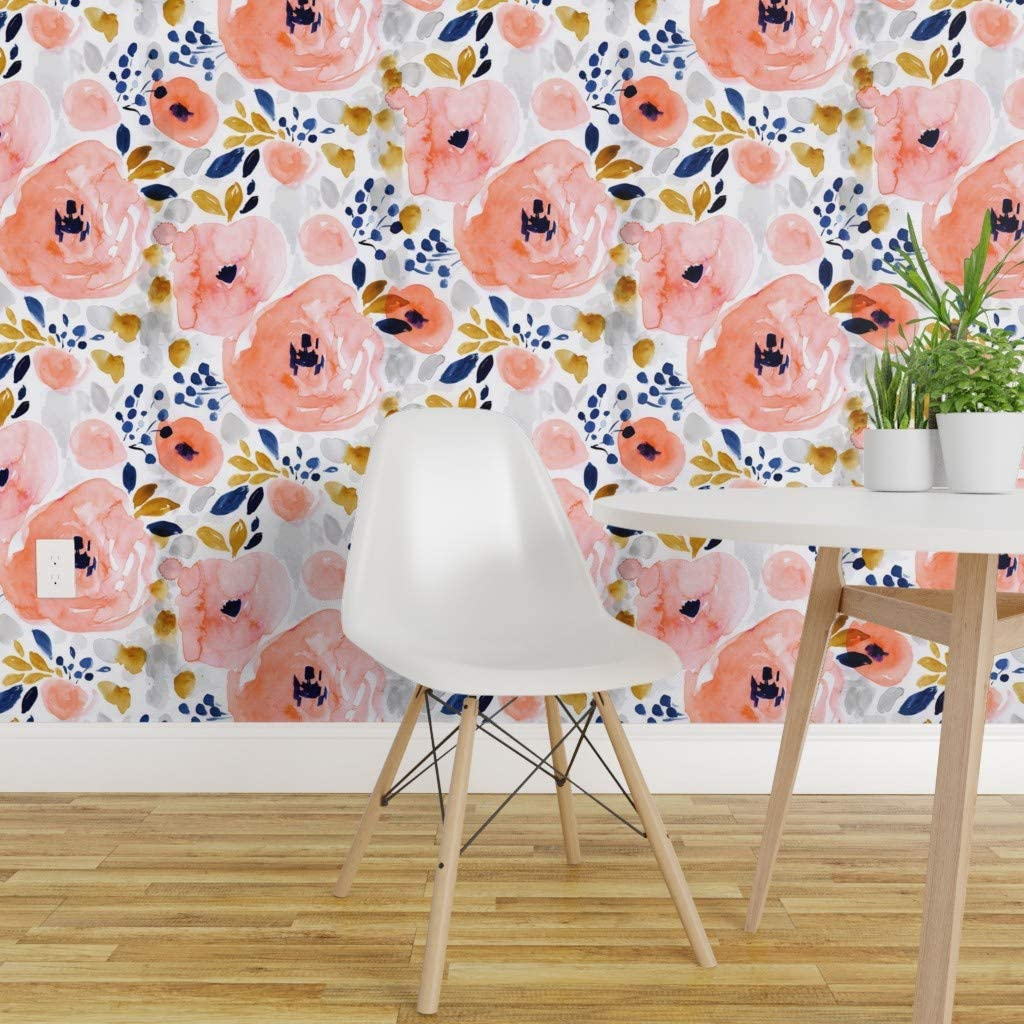 Spoonflower Pre Pasted Removable Wallpaper Watercolor Floral