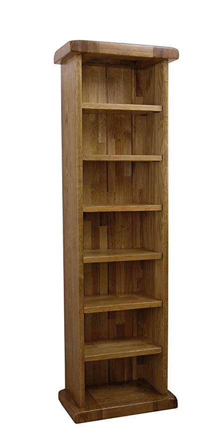 Rustic Solid Oak   Tall Single CD DVD Rack / 7 Shelves Storage Tower Unit