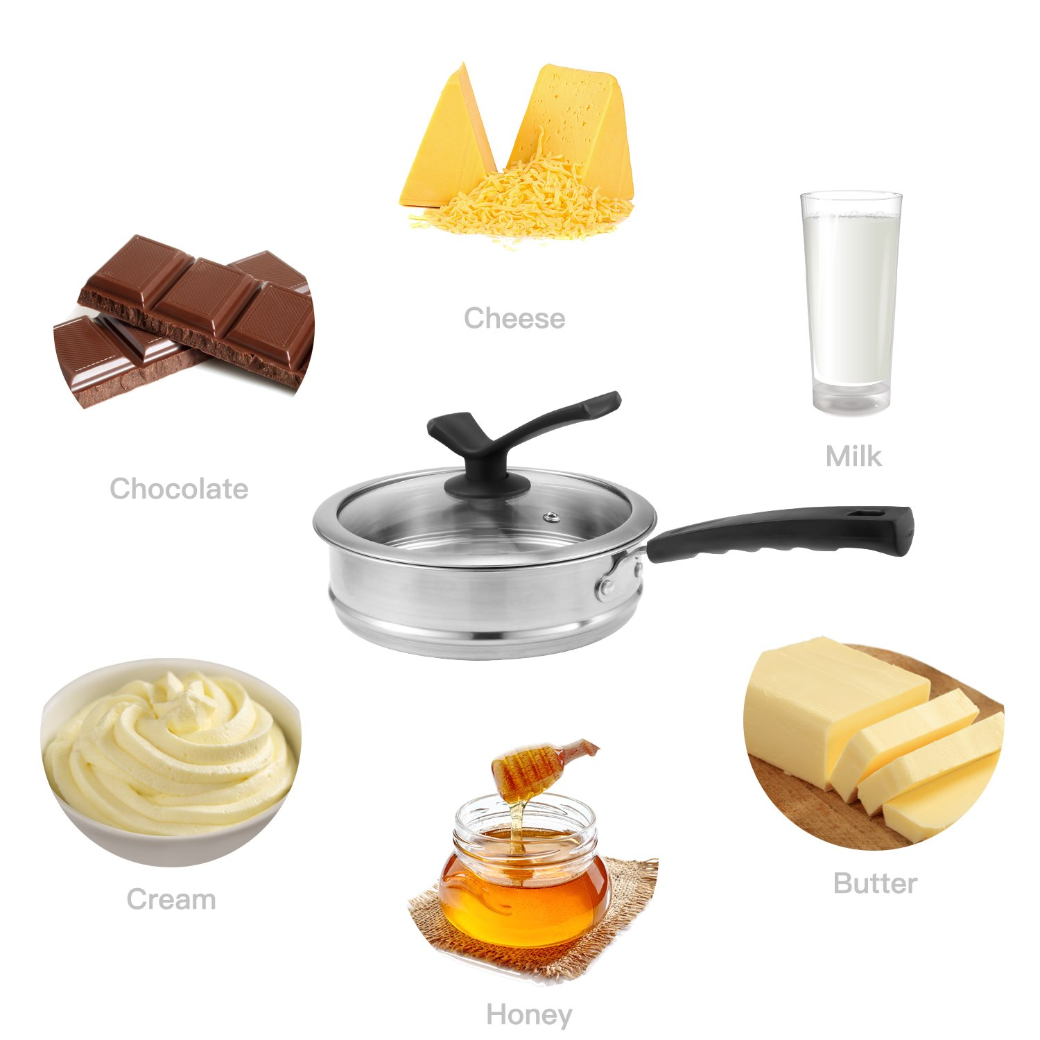 Double Boiler&Classic Stainless Steel Non-Stick Saucepan,Melting Pot for Butter,Chocolate,Cheese,Caramel and Bonus with Tempered Glass Lid by JKsmart (Image #5)