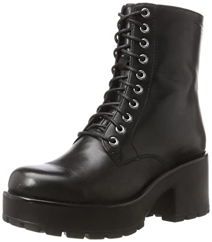 Womens Vagabond Dioon Festival Leather Black Casual Block Heels Boots