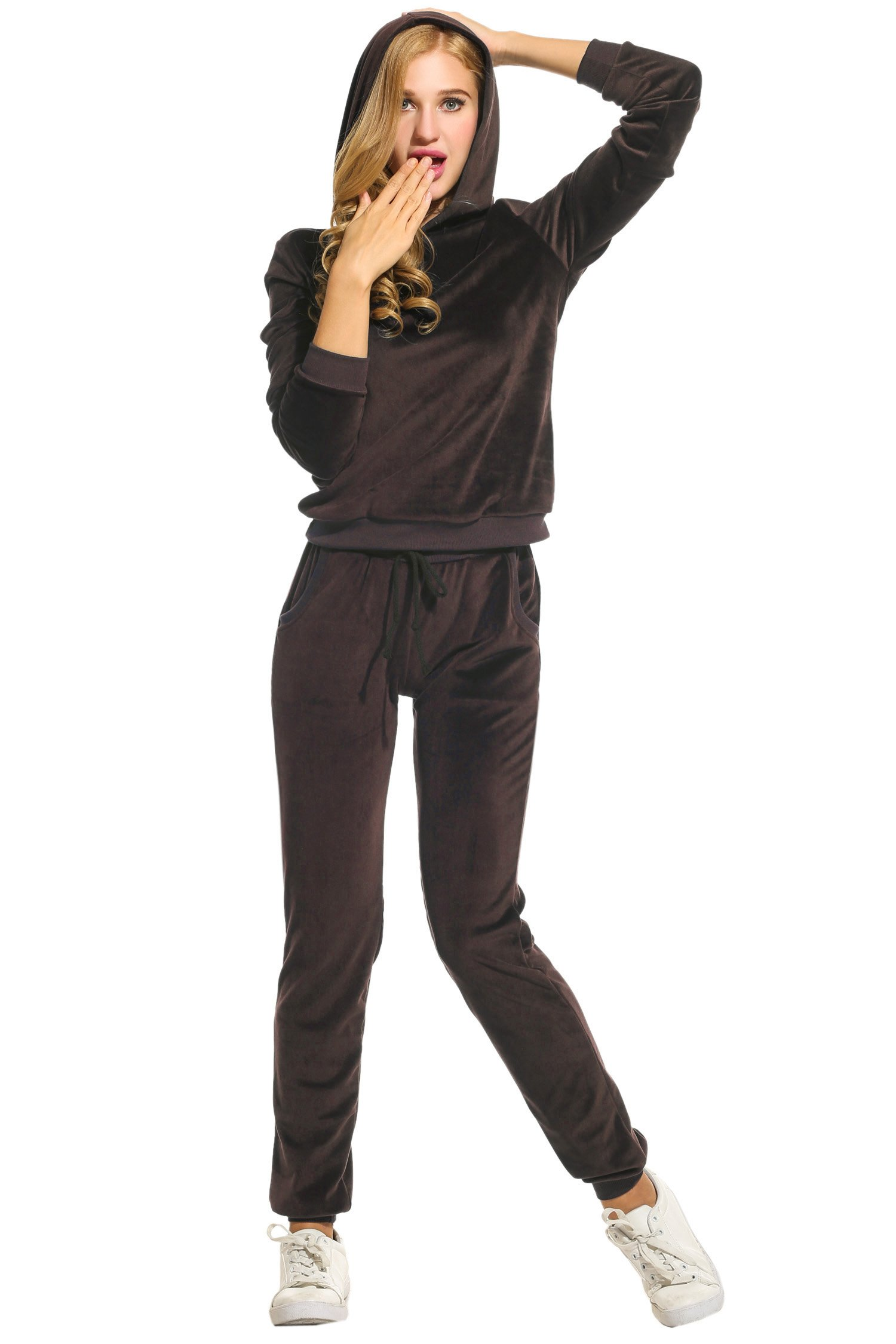 Hotouch Women's Sweatsuit Set Velour Hoodie and Track Pants Coffee L by Hotouch (Image #2)