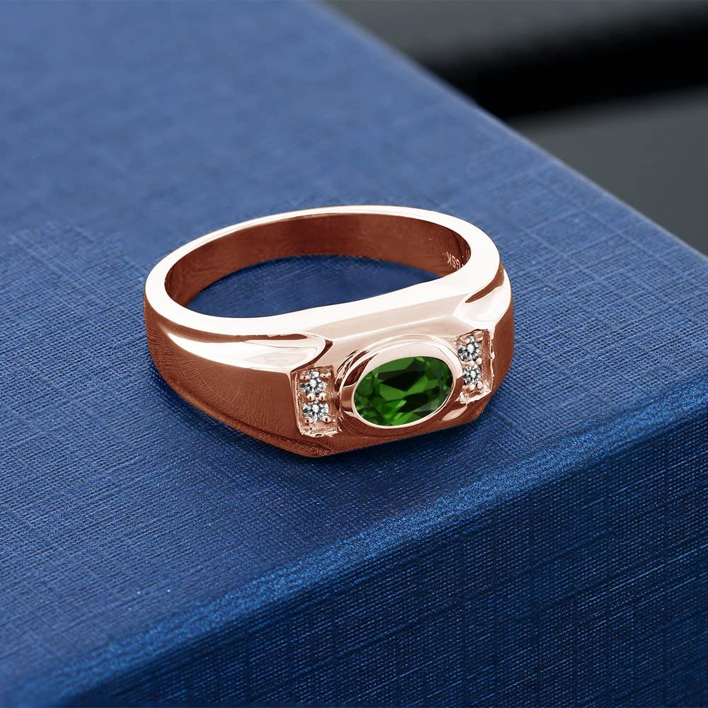 Gem Stone King 1.33 Ct Chrome Diopside White Diamond 18K Rose Gold Plated Silver Mens Ring