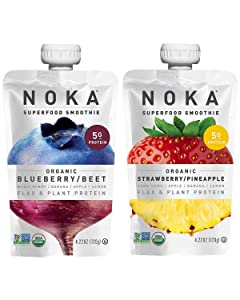 NOKA Superfood Pouches 24 Pack Bundle (12 Pack Strawberry Pineapple & 12 Pack Blueberry Beet) | 100% Organic Fruit And Veggie Smoothie Squeeze Packs | Non GMO, Gluten Free, Vegan, 5g Plant Protein