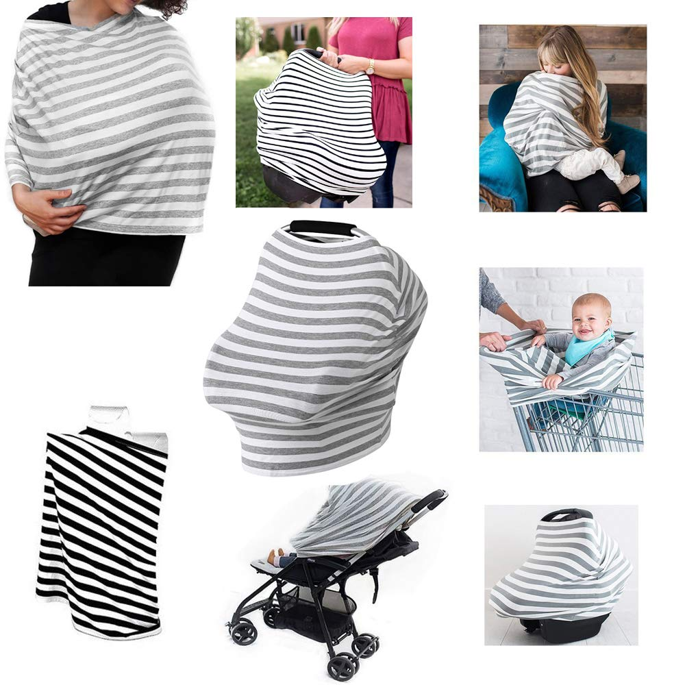 Baby Car Seat Cover Canopy and Shopping Cart for Boys and Girls Stretchy Covers for Baby Carrier Multi-Use Organic Cotton Nursing Cover Breastfeeding Cover /& Nursing Scarf NP08