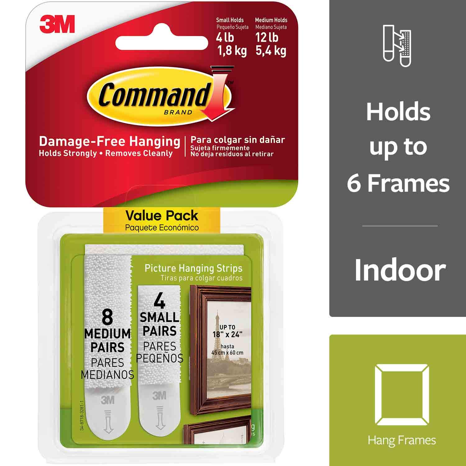 Command 17203 Picture Hanging Strips Variety Value Pack, 4-Small and 8-Medium Strips, White , 4-Pack