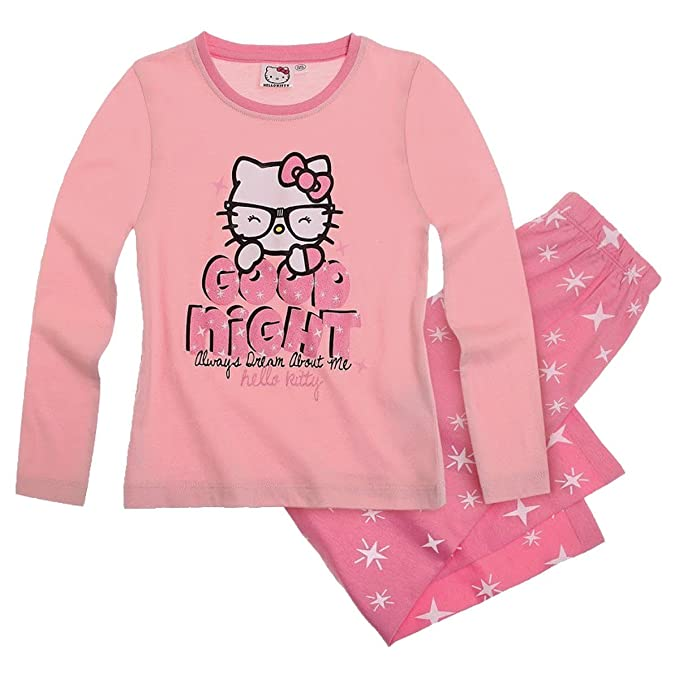 Hello Kitty niña Pijama de 2 - Traje largo de dormir 3 modelos y colores rosa claro 8 años: Amazon.es: Ropa y accesorios