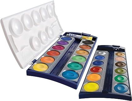 Pelikan Acuarelas Premium K24, caja 24 colores y 1 tubo de blanco opaco (7,5 ml), calidad Made in Germany, estuche escolar, material de enseñanza 720631: Amazon.es: Juguetes y juegos