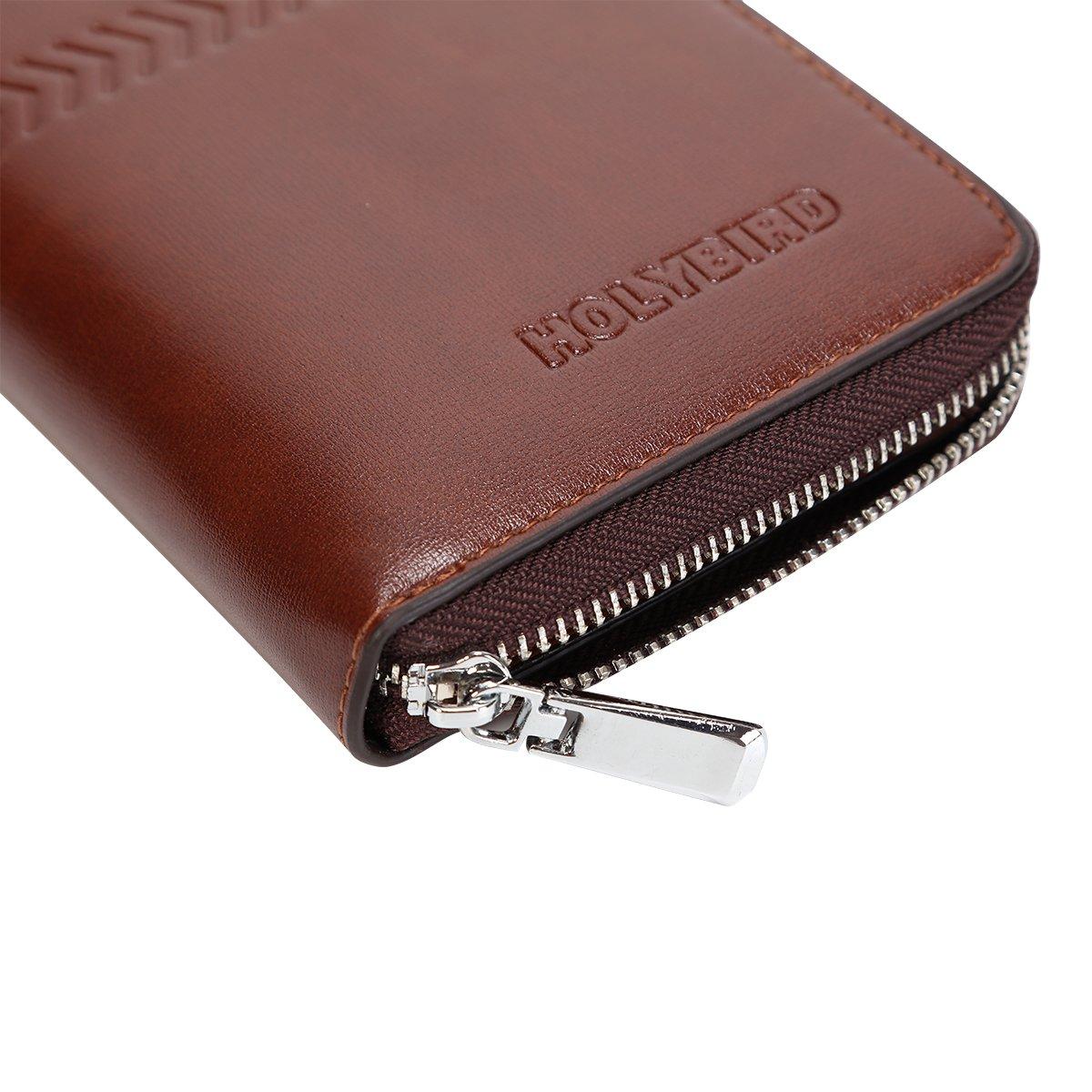 Mens Clutch Genuine Leather Handbag Organizer Checkbook Wallet Card Case by HOLYBIRD (Image #3)