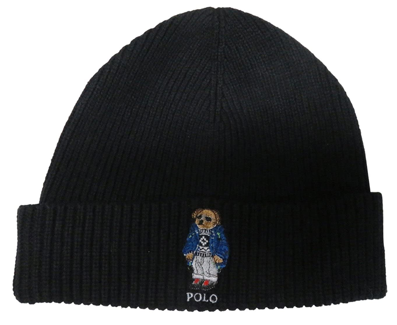 af5ed4a8021b72 RALPH LAUREN Polo Men's Polo Bear Hat Skull Cap (One Size, Black) at Amazon  Men's Clothing store: