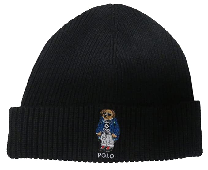 Ralph Lauren Polo Men s Polo Bear Hat Skull Cap - Black -  Amazon.co ... 1290ec14f06