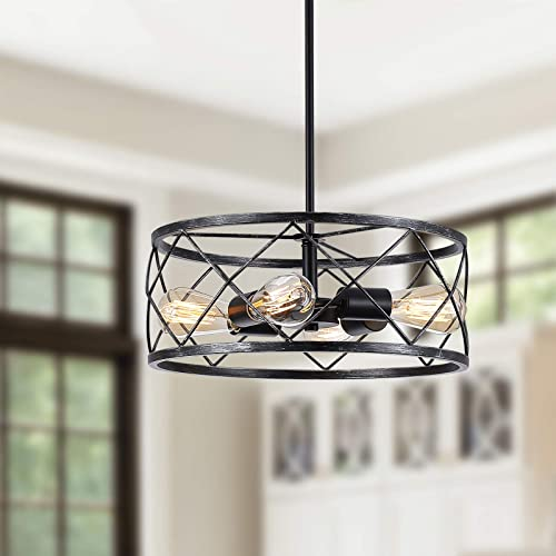 SGLfarmty Rustic 4-Light Vintage Metal Chandelier Rustic Foyer Chandelier Adjustable Height Dining Light Living Room Lighting Kitchen Chandelier 15.75'' Antique Look Black