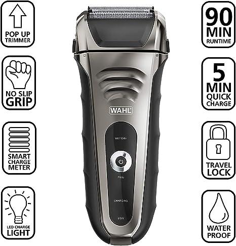 Afeitadora facial Wahl Speed Shave recargable de iones de litio para cabello húmedo y seco, resistente al agua, con ...