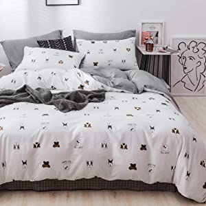 LAYENJOY Dogs Duvet Cover Set Queen, 100% Cotton Bedding, Bulldog Puppy Pattern Printed on White Reversible Gray Plaid, 1 Comforter Cover Full 2 Pillowcases for Kids Teens Boys Girls, Zipper Closure