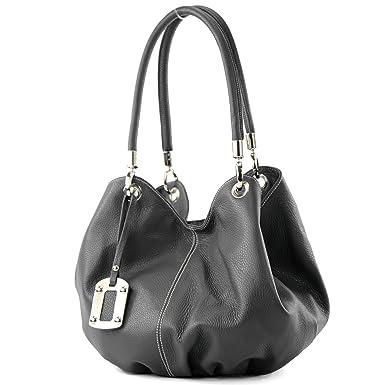 modamoda de - ital. Ledertasche Damenhandtasche Beuteltasche Schultertasche Leder 228, Präzise Farbe:Dunkelbeige modamoda de - Made in Italy