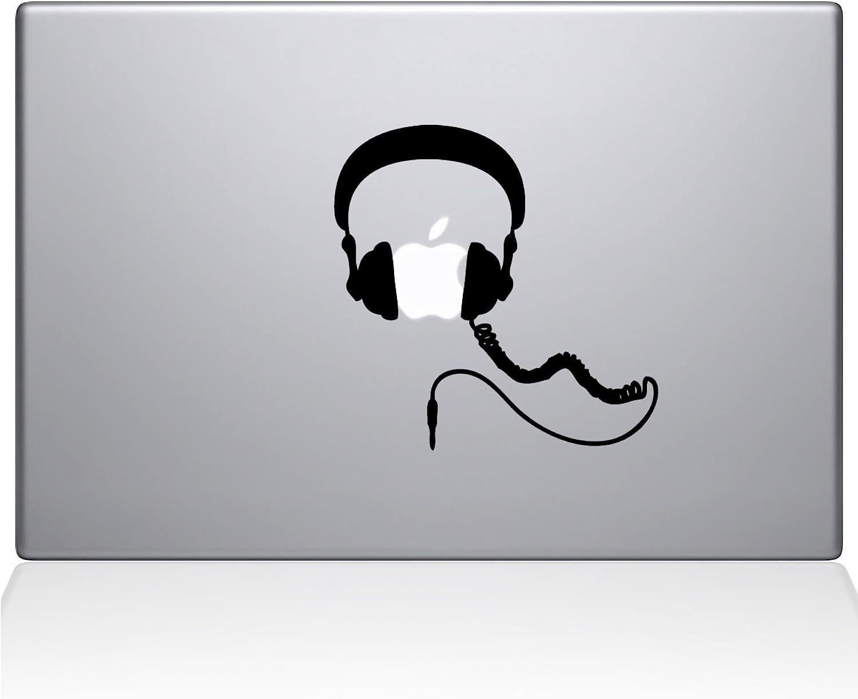 "The Decal Guru Headphones MacBook Decal Vinyl Sticker - 15"" MacBook Pro (2016 & Newer) - Silver (1081-MAC-15X-S)"