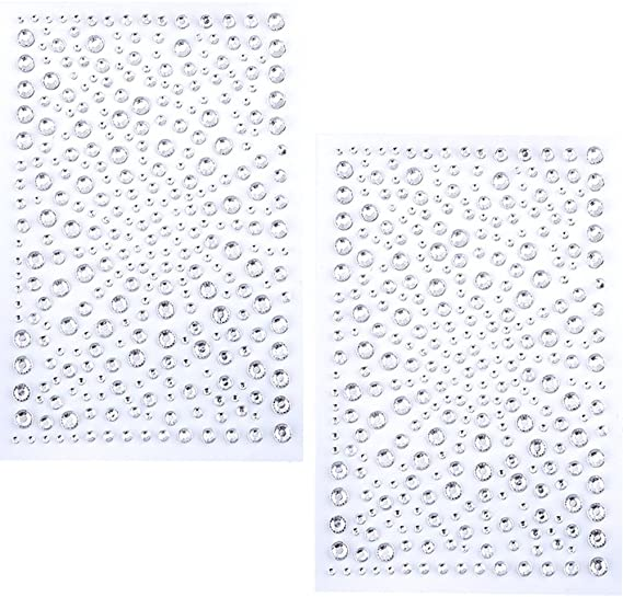 650 Pieces Self Adhesive Bling Rhinestone Stickers (Clear)