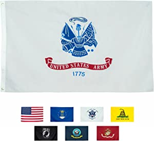 Front Line Flags Army Flag 3x5 ft, Embroidered Heavy Duty & Double-Sided | Military Banner for Inside/Outside Use | UV Protected Long Lasting Nylon | Brass Grommets for Easy Display | US Army Flag