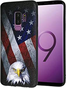 Galaxy S9+ Plus Case,Bald Eagle American Flag Slim Anti-Scratch Shockproof Leather Grain Soft TPU Back Protective Cover Case for Samsung Galaxy S9+ Plus 2018