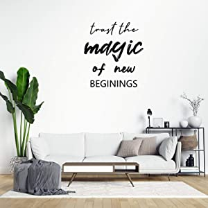 Trust The Magic of New Beginnings Wall Sticker,Inspirational Quotes Wall Decal Saying Family Room,Wall Art Decor for Boys Room Kids Bedroom Living Room
