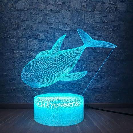 ZYBZYB 3D Lámpara de óptica ilusión Shark LED Night Light 7 ...