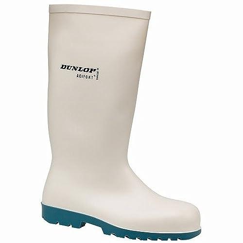 Dunlop - Botas de agua de seguridad clásicas estilo Wellingtons modelo A681331 HEVEA Acifort para hombre (48 EU/Blanco): Amazon.es: Zapatos y complementos