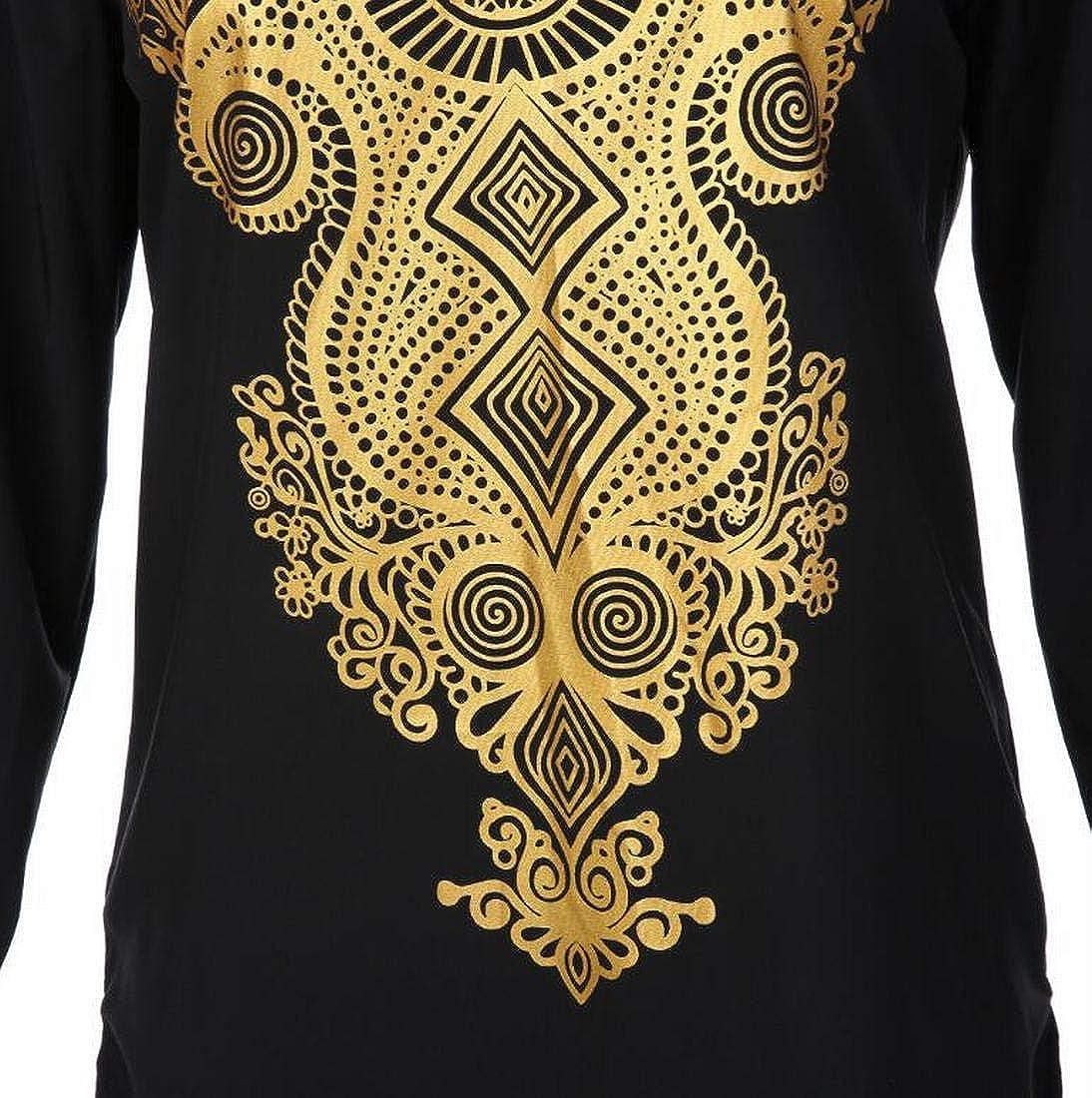 XiaoTianXinWomen XTX Mens Tribal Loose V Neck Dashiki African Print Floral Print Tops Long Sleeve Shirts