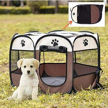 VICTORIE Portátil Carpa Plegable para Mascotas Gato Perro Tienda campaña Valla Cama Deportivos Juegos Exterior Interior Marrón 72x 72x 43cm: Amazon.es: ...