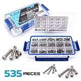 304 Stainless Steel Screw and Nut 535pcs, M2 M3 M4 Hex Socket head Cap Screws Assortment Set Kit