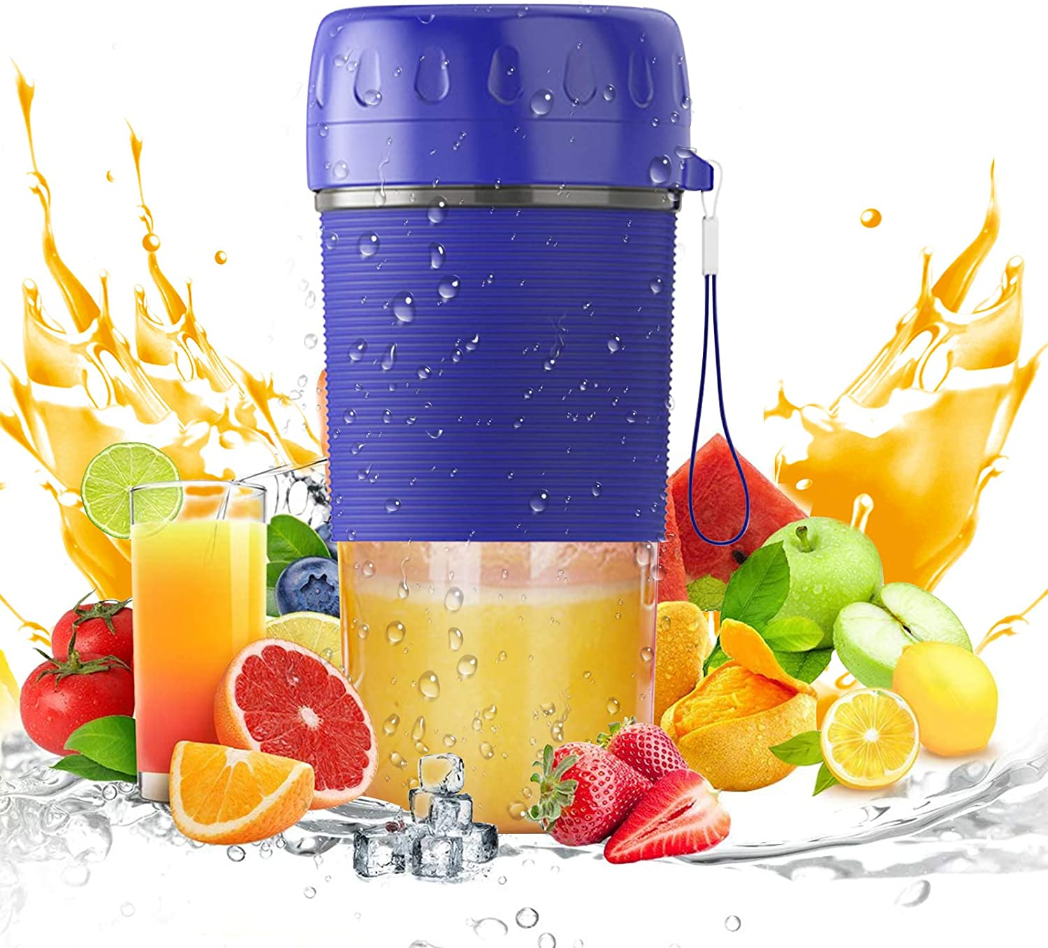 Portable Blender, Personal Size Blender USB Rechargeable for Smoothies and Shakes, Mini Jucier Cup Strong Power Cordless Blenders Fruit Mixer for Home Outdoor Picnic Travel Gym, BPA Free, 300ml, Blue