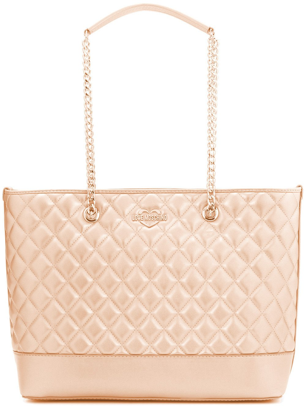 LOVE MOSCHINO Diamond Quilted Logo Shoulder Tote Bag, Rose Gold
