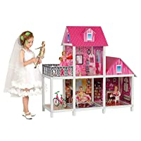 BETTINA 39'' Large Plastic & Hard Cardboard Doll House with Sofas, Bicycle,Vanity, Big Playhouse Set with Dollhouse Furniture, Pink