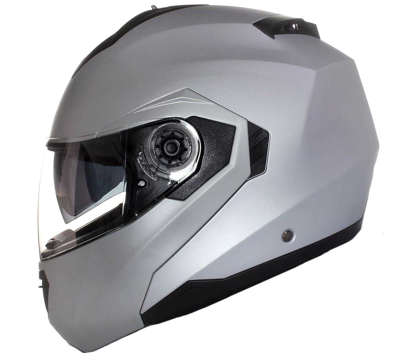 Qtech Klapp Motorradhelm mit DOPPELVISIER/Sonnenblende fluoreszierend - Gelb - S (55-56cm)