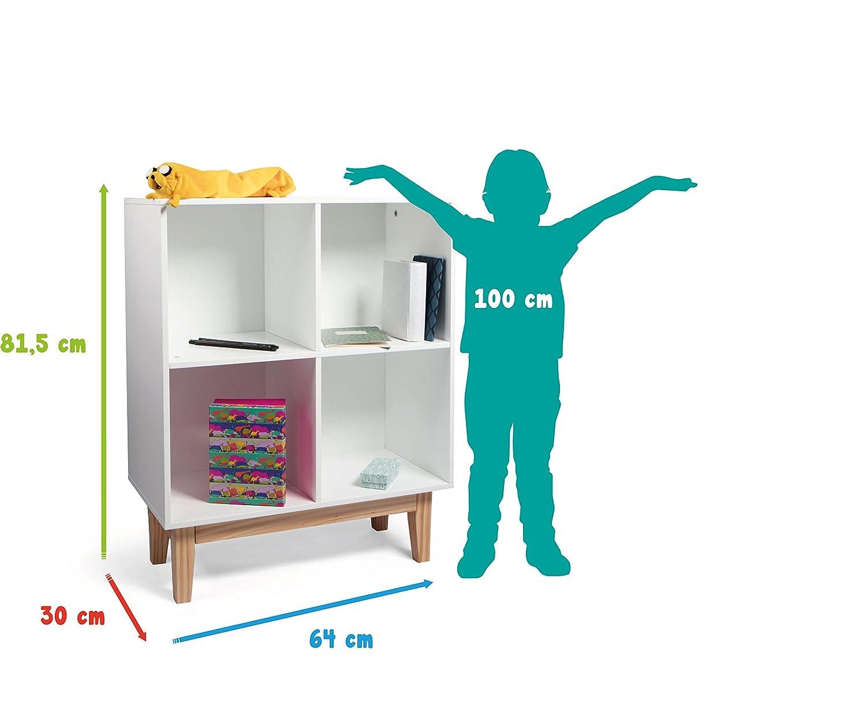f/ür Spielzeug als Aufbewahrungsregal Kommode und Schrank nutzbar bestens geeignet f/ür das Kinderzimmer B/ücher /& Deko Kledio Kinder Holzregal mit 4 Einlagebrettern