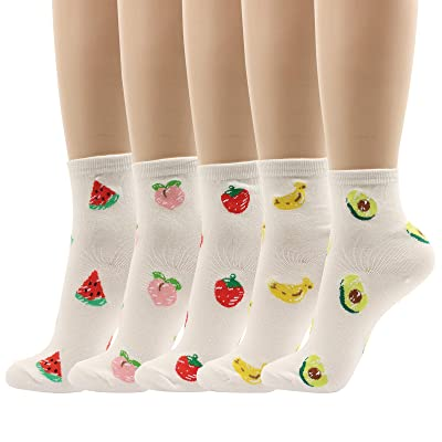 Women Fruit Pattered Cotton Socks Strawberry Banana Peach Watermelon Avocado Funny Fresh Vivid Color 5 Pairs (5pairs-Fruit I) at Women's Clothing store