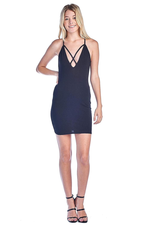 Black Khanomak Women's Casual Basic Cami Deep V Plunge X Front Cotton Bodycon Mini Dress