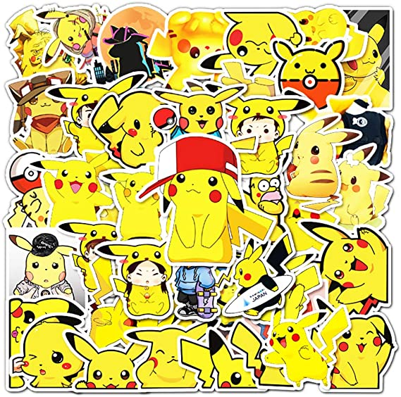 Amazon.com: Pikachu Pokemon Vinyl Sticker Pack| 54Pcs Aesthetic Cute Monster Animal Cartoon Stickers, Waterproof Sticker for Laptop Hydro Flasks Water Bottles Cup, Ideal Gift for Children Teens and Adults: Kitchen & Dining