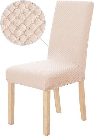 Deconovo Coprisedie con Schienale 6 Pezzi Elasticizzato in Tessuto Jacquard Coprisedia Universale Elegante per Sala da Pranzo Rosa