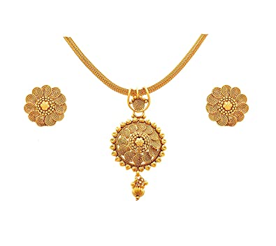 0e0f8132030957 Buy BGFC- Flower Designer Gold Pendant Set with 18 inches Chain for Woman  Online at Low Prices in India | Amazon Jewellery Store - Amazon.in
