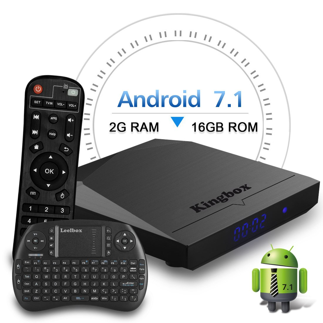 Kingbox Android TV Box, K3 Android 7.1 Box with Amlogic S912 Octa-Core 64 Bits 2GB/16GB support Dual WiFi 2.4+5GHz/4K UHD/BT 4.0/1000M LAN Android Smart TV Box, Free Mini Keyboard [Top Configuration] by kingbox