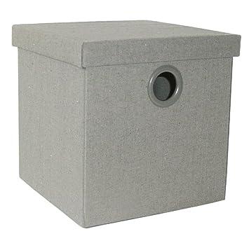 Caja de ordenación plegable con tapa, color gris (30x30x30 cm M): Amazon.es: Hogar