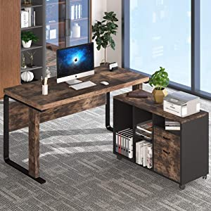 Tribesigns L-Shaped Computer Desk with Leteral File Cabinet, 55 inch Executive Office Desk Workstation Business Furniture with Letter Size Filing Cabinet for Home Office, Vintage Brown