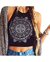 kaifongfu Women Tank Tops, Mandala Print Halterneck Tank Crop Tops Blouse Vest Sleeveless Blouse T-Shirt