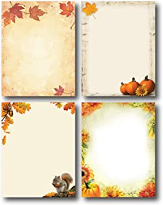 Fall Favorites Stationery Variety Pack - 4 Beautiful Autumn Designs - 80 Sheets