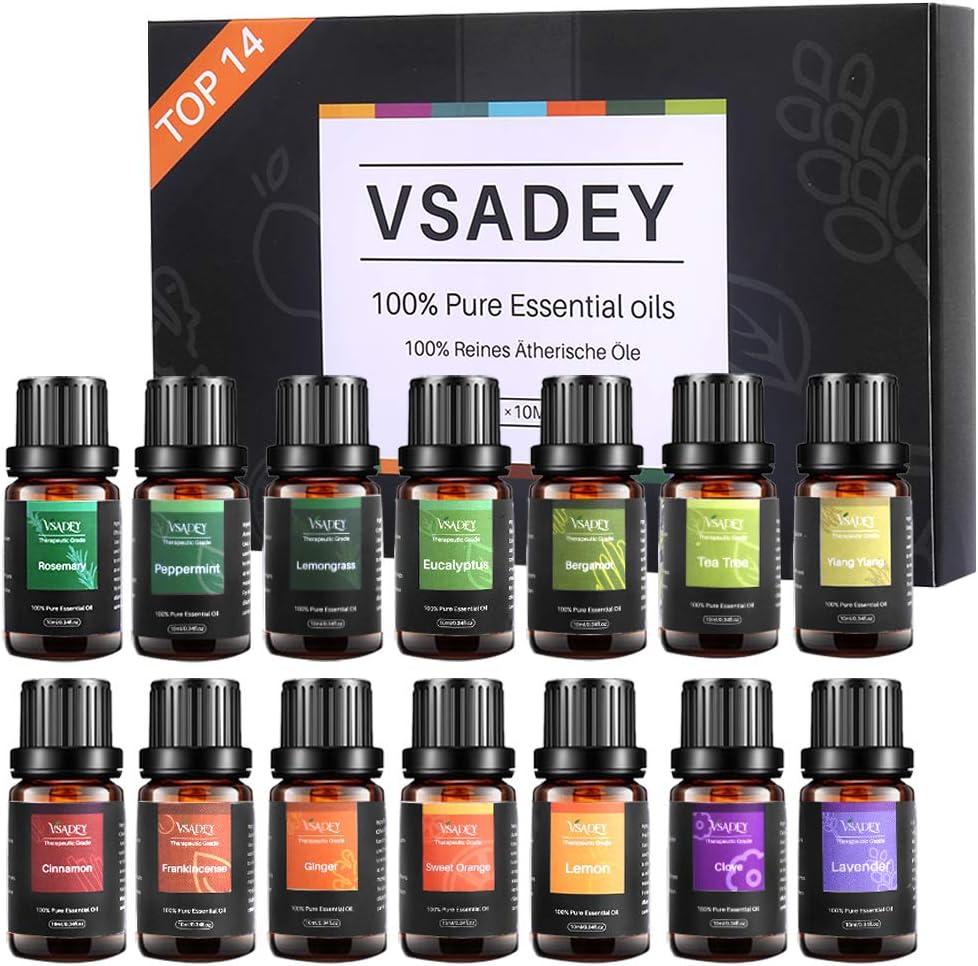 VSADEY Aceites Esenciales Aromaterapia 14 x 10ml Aceites Esenciales para Humidificador 100% Puro y Natural para Difusores para Sauna, SPA, Masaje, Baño Caja de Regalo Ideal para Fiesta