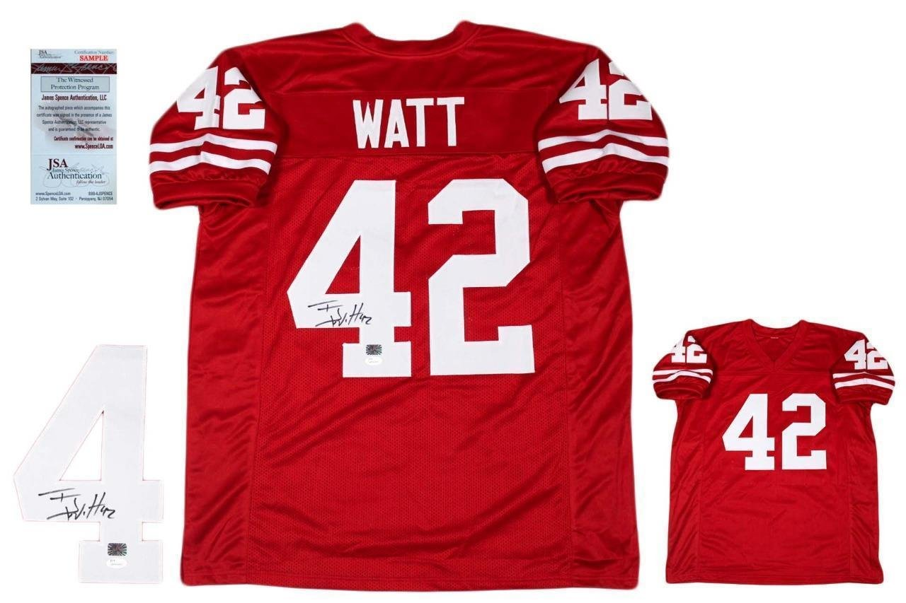 7d8791022af T.J. Watt Autographed Jersey - TJ Custom Witnessed Red - JSA Certified -  Autographed College Jerseys at Amazon's Sports Collectibles Store