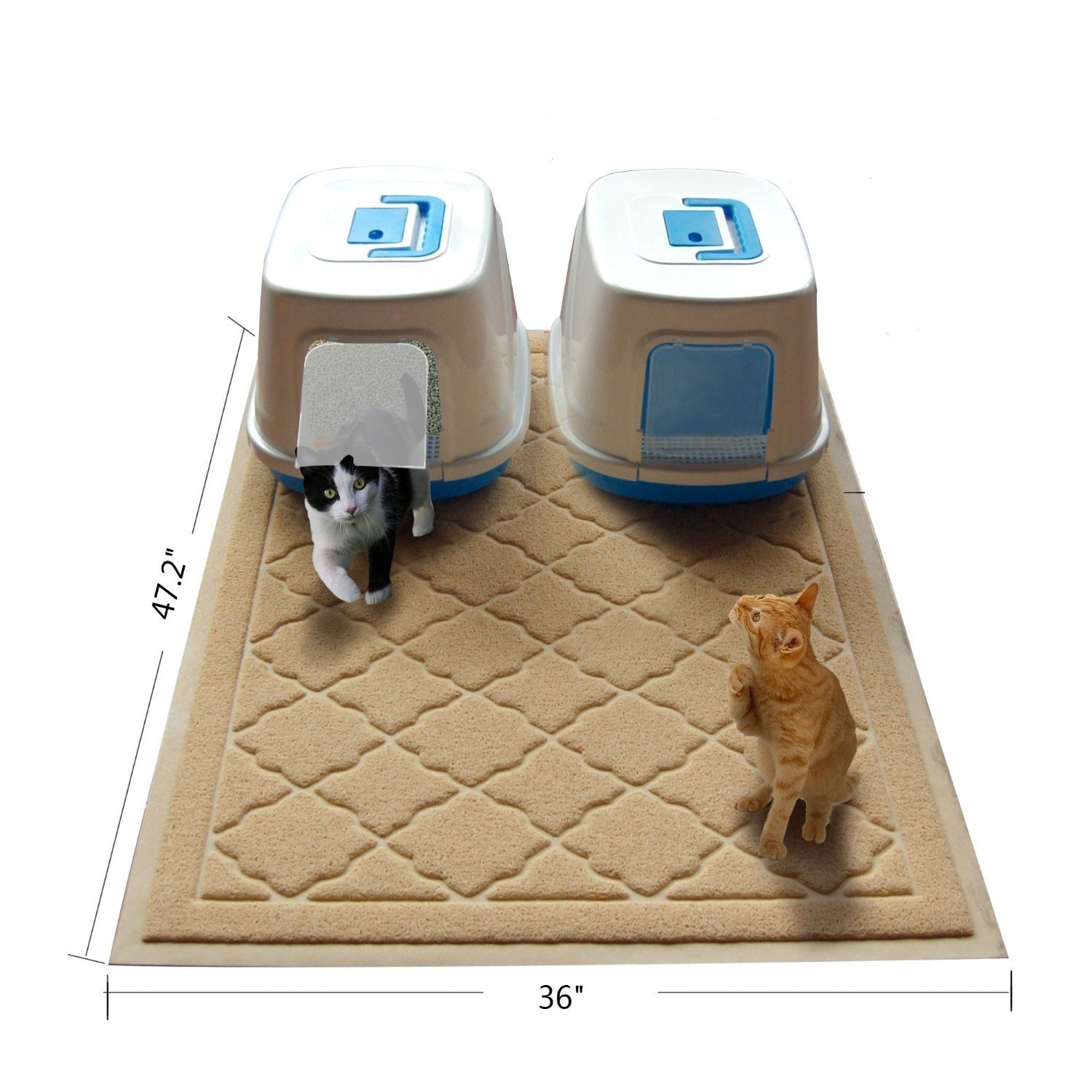 Keflar Non Toxic Jumbo Size Cat Litter Mat - (47 x 36 in) - JUMBO Scatter Control Kitty Litter Mats for Cats Tracking Litter Out of Their Box - Extra Large (XL) Soft to Paws- (Beige)