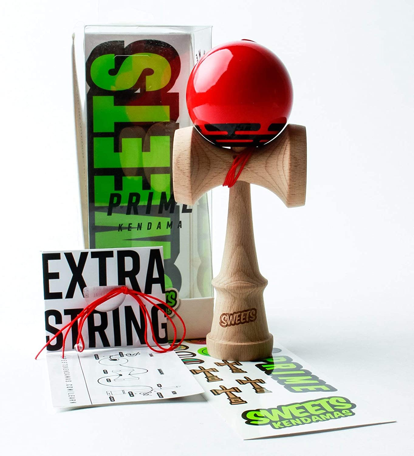 Sweets Kendamas Radar Prime Kendama - Sticky Paint, Perfect for Beginners, Extra String Accessory Gift Bundle (Red)